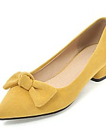 cheap -Women's Shoes Leatherette Spring Fall Comfort Heels Chunky Heel Pointed Toe Bowknot for Party & Evening Dress Pink Yellow Beige Black