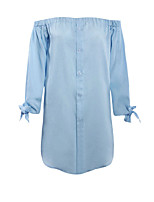 cheap -Women's Daily Casual Spring Fall Shirt,Solid Off Shoulder Long Sleeve Polyester Opaque