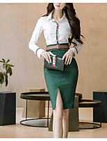 cheap -Women's Going out Simple Fall Set Skirt Suits,Solid Shirt Collar Long Sleeves Polyester