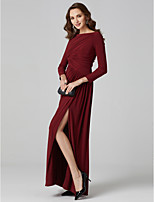 cheap -A-Line Princess Bateau Neck Linen Formal Evening Dress with Side Draping Split Front by TS Couture®
