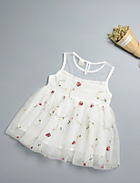 cheap -Baby Girl's Birthday Holiday Floral Dress, Polyester Simple Sleeveless White Blushing Pink