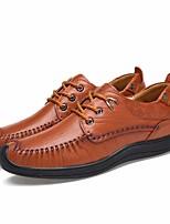 Недорогие -Муж. обувь Кожа Весна Осень Удобная обувь Кеды для Повседневные Черный Кофейный Коричневый
