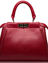 cheap -Women Bags Cowhide Tote Buttons Zipper for Casual All Season Purple Gray Red Black