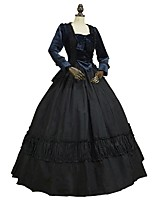 cheap -Rococo Victorian Costume Women's Adults' Outfits Bule/Black Vintage Cosplay Plush Fabric Pure Cotton Long Sleeves Puff/Balloon Ankle