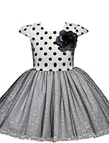 cheap -Girl's Daily Going out Polka Dot Dress,Cotton Polyester Summer Short Sleeve Simple Cute Active Gray Black