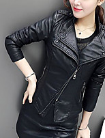 cheap -Women's Daily Holiday Active Street chic Winter Fall Leather Jacket,Solid Shirt Collar Long Sleeve Short PU