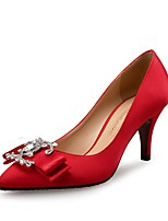 cheap -Women's Shoes Silk Spring Fall Comfort Heels Stiletto Heel Rhinestone for Wedding Party & Evening Almond Red Black