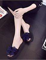 Недорогие -Для женщин Обувь ПВХ Лето Удобная обувь Тапочки и Шлепанцы Плоские Открытый мыс для Повседневные Черный Пурпурный Синий Розовый Миндальный