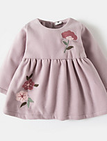 cheap -Girl's Daily Floral Dress, Cotton Polyester Spring Long Sleeves Simple Blushing Pink Gray