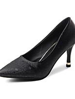 preiswerte -Damen Schuhe PU Frühling Herbst Komfort High Heels Stöckelabsatz für Gold Schwarz Silber
