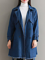 Недорогие -Для женщин Повседневные Зима Джинсовая куртка V-образный вырез,На каждый день Однотонный Длинная Длинные рукава,Хлопок Акрил,