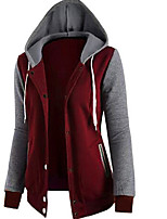 cheap -Men's Petite Daily Going out Casual Hoodie Color Block Hooded Hoodies Micro-elastic Polyester Long Sleeve Winter Fall