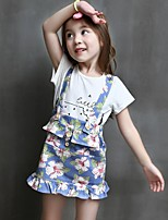 cheap -Girls' Daily Solid Floral Clothing Set, Cotton Spring Summer Half Sleeves Simple White