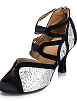 "cheap -Women's Latin Leatherette Sneaker Training Trim Stiletto Heel Black/Silver 2"" - 2 3/4"" Customizable"