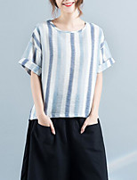 cheap -Women's Casual/Daily Cute T-shirt,Solid Round Neck Short Sleeves Polyester