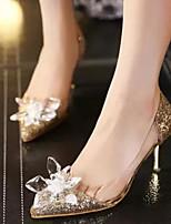 Недорогие -Для женщин Обувь Синтетика Весна Осень Удобная обувь Обувь на каблуках На шпильке для Повседневные Золотой Серебряный