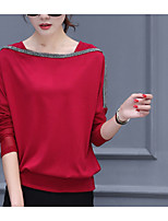 cheap -Women's Daily Casual Fall T-shirt,Solid Bateau Long Sleeve Cotton Medium