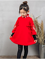 cheap -Girl's Daily Going out Solid Floral Embroidered Dress,Cotton Polyester Winter Fall Long Sleeves Cute Active Chinoiserie Red
