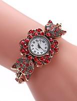 baratos -Mulheres Simulado Diamante Relógio Relógio Elegante Relógio de Pulso Chinês Quartzo Relógio Casual Lega Banda Casual Preta Azul Vermelho