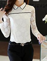 cheap -Women's Going out Work Sophisticated Winter Fall Shirt,Print Shirt Collar Long Sleeve Cotton Polyester Thin