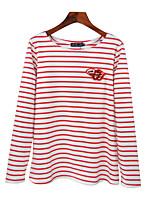 economico -T-shirt Da donna Quotidiano Per uscire Casual Attivo Primavera Autunno,A strisce Rotonda Cotone Poliestere Maniche lunghe Medio spessore