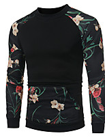 cheap -Men's Petite Daily Vintage Casual Sweatshirt Floral Color Block Round Neck Without Lining Micro-elastic Polyester Long Sleeve Fall