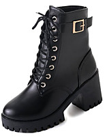 cheap -Women's Shoes PU Spring Combat Boots Boots Chunky Heel Round Toe Mid-Calf Boots for Casual Black
