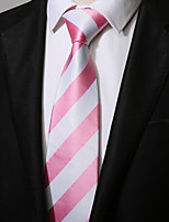 cheap -Men's Polyester Necktie, Casual Striped All Seasons Blushing Pink