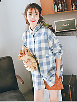 Недорогие -Для женщин Повседневные Рубашка Рубашечный воротник,На каждый день Шахматка Длинные рукава,Хлопок