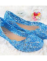 baratos -Mulheres Sapatos PVC Primavera Verão Conforto Rasos Salto Baixo para Casual Dourado Prata Azul