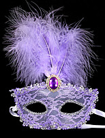 cheap -Carnival Masquerade Mask Black White Purple Red Yellow Lace Cosplay Accessories Masquerade