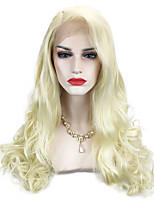 cheap -613# Platinum Blonde Color Long Length Women Lace Front Wig Natural Daily Wearing or Cosplay Heat Resistant Wavy Hair Side Part