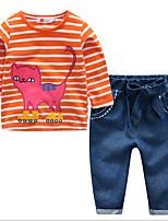 Недорогие -Девочки Набор одежды Повседневные Хлопок Полоски С животными принтами Весна Длинные рукава Простой Красный