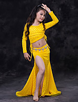 cheap -Belly Dance Outfits Children's Performance Modal Lace Lace Pleated Long Sleeve Dropped Skirts Tops