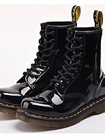 abordables -Mujer Zapatos Cuero Patentado Invierno Otoño Confort Botas de Combate Botas Tacón Cuadrado para Casual Negro Rojo