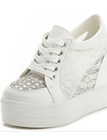 cheap -Women's Shoes PU Spring Fall Comfort Sneakers Creepers for Casual Black White