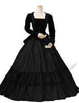 cheap -Rococo Victorian Costume Women's Adults' Outfits Bule/Black Vintage Cosplay Cotton Fabric Pleuche Long Sleeves Ankle Length