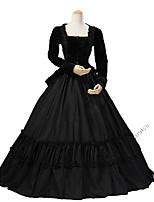 abordables -Rococo Victorien Costume Femme Adulte Tenue Bleu/Noir Vintage Cosplay Tissu en Coton Pleuche Manches Longues Longueur Cheville