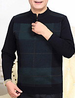 cheap -Men's Daily Simple Casual Color Block Round Neck Pullover, Long Sleeves Spring Polyester