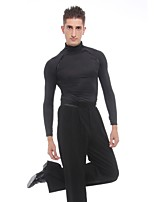 cheap -Latin Dance Tops Men's Performance Spandex Ruffles Long Sleeves Natural Top
