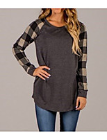 cheap -Women's Daily Casual Spring Fall Shirt,Color Block Round Neck Long Sleeve Polyester Medium
