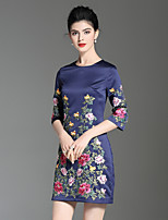 cheap -Women's Party Holiday Sophisticated Chinoiserie A Line Above Knee Dress, Floral Flower Round Neck Half Sleeves