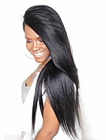 cheap -Human Hair Lace Front Wig Wig Malaysian Hair Straight With Baby Hair 120% Density Natural Hairline Short / Medium Length / Long Human Hair Lace Wig
