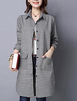 cheap -Women's Casual/Daily Cute Shirt,Color Block Plaid Shirt Collar Long Sleeves Polyester