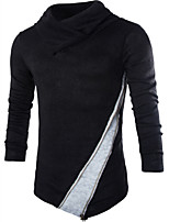cheap -Men's Daily Casual Regular Pullover,Color Block Turtleneck Long Sleeves Polyester Fall Opaque Micro-elastic