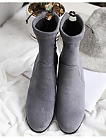 cheap -Women's Shoes Nubuck leather Pigskin Winter Fall Comfort Bootie Boots Chunky Heel Booties/Ankle Boots for Casual Black Gray Coffee