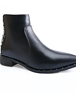 Недорогие -Для женщин Обувь Полиуретан Весна Осень Удобная обувь Ботильоны Ботинки Блочная пятка для Повседневные Черный