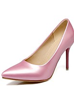 cheap -Women's Shoes Leatherette Spring Fall Comfort Heels Stiletto Heel Pointed Toe for Office & Career Dress Pink Green Red Black White