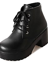 cheap -Women's Shoes PU Winter Fall Comfort Fashion Boots Boots Chunky Heel Round Toe Booties/Ankle Boots for Casual Black White