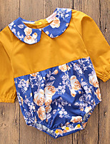 cheap -Baby Girls' Daily Going out Floral Patchwork One-Pieces, Cotton Polyester Spring Summer Simple Casual Long Sleeves Yellow